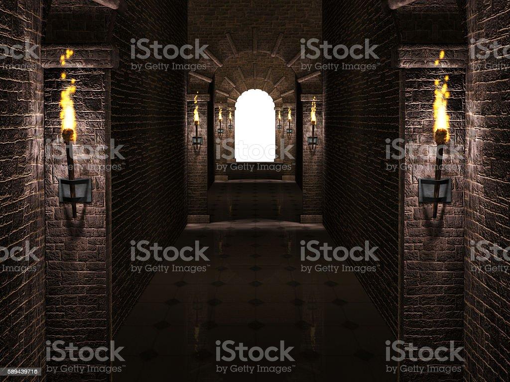 Arches corridor stock photo