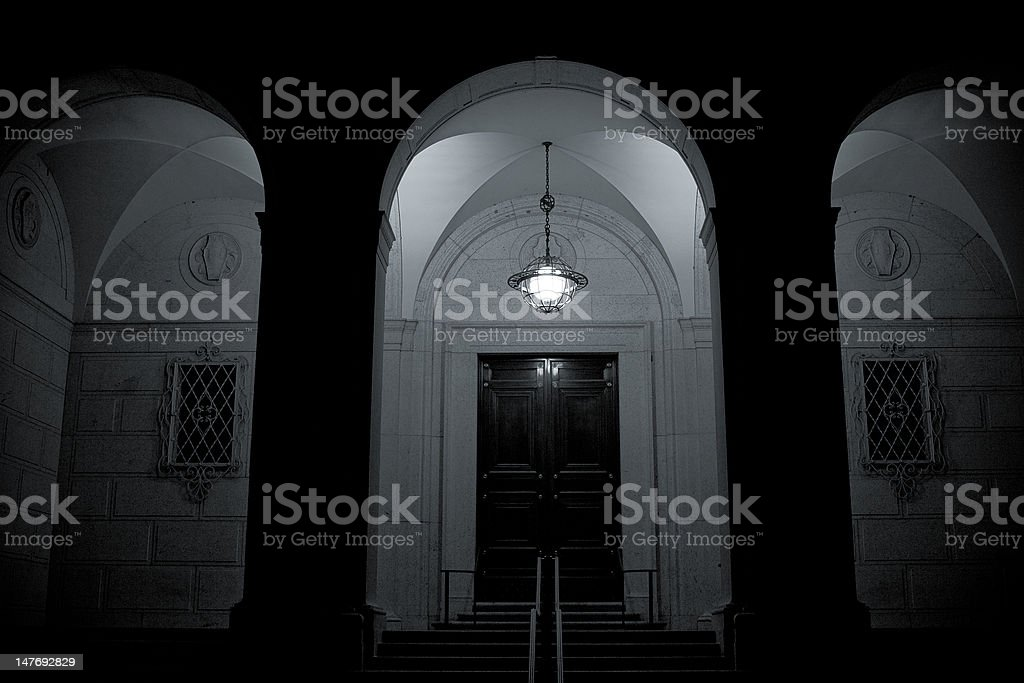 Arches Groin Vaults Iluminated at Night, Black and White royalty-free stock photo