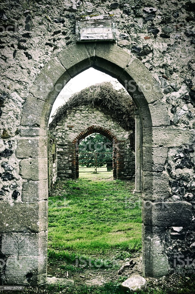 Arches in a church ruin stock photo