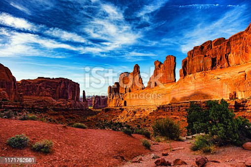 Sunset at Arches National Park, American Southwest desert