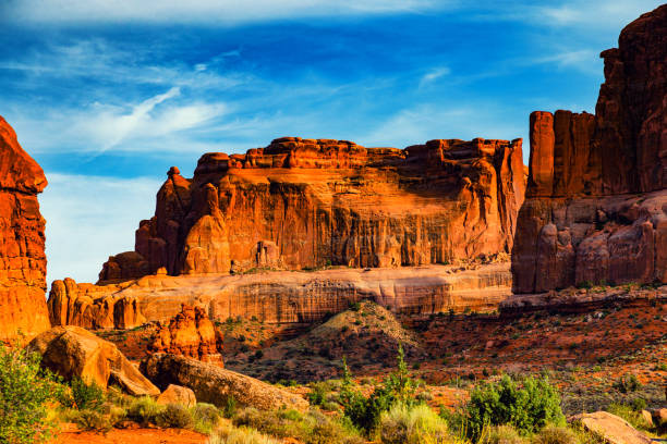 Arches National Park, Moab, UT Sunset at Arches National Park, American Southwest desert arches national park stock pictures, royalty-free photos & images