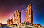Arches National Park Moab with illuminated Starry Night Sky