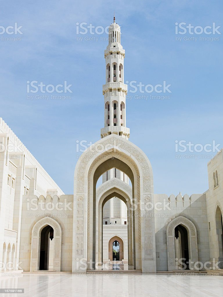 Arches of Sultan Qaboos Grand Mosque in Muscat Oman stock photo
