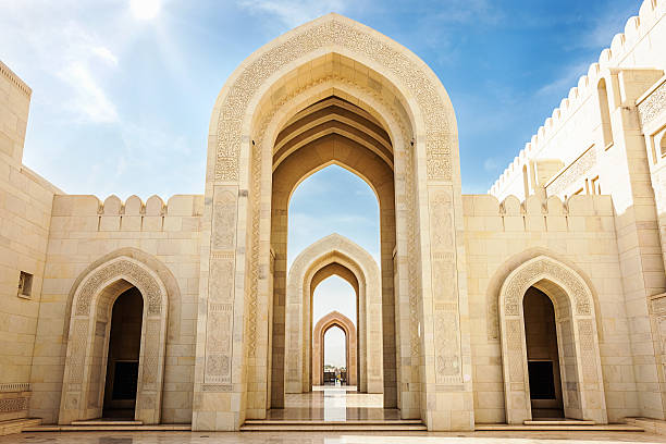 Arches Sultan Qaboos Grand Mosque Muscat,Oman Arches of Sultan Qaboos Grand Mosque in Muscat, Oman, Middle East, Arabia. grand mosque stock pictures, royalty-free photos & images