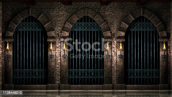 istock Arches with iron railings and torches 1128446010