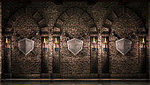 istock Arches with swords and shield 1179414187