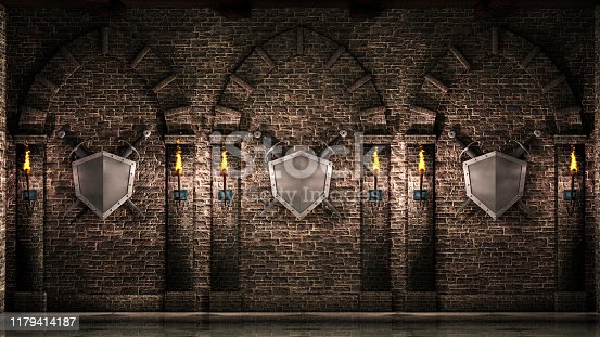 Medieval arches with swords and shield background.3d illustration.