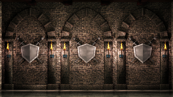 Arches with swords and shield