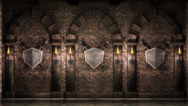 arches with swords and shield - средневековье стоковые фото и изображения