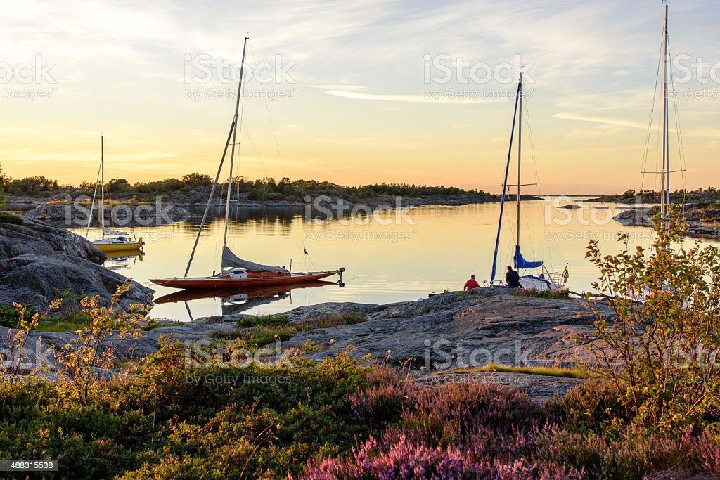 Archipelago harbour stock photo