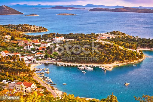istock Archipelago of Dalmatia aerial view, Pakostane waterfront, Croatia 677328996