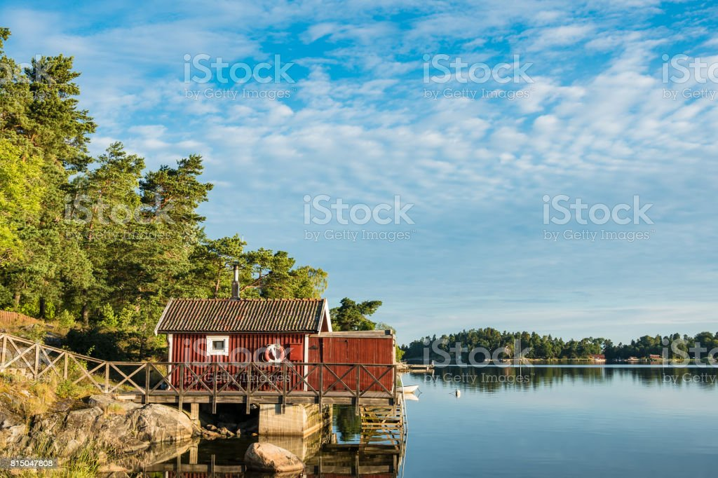 Archipelago on the Baltic Sea coast in Sweden stock photo