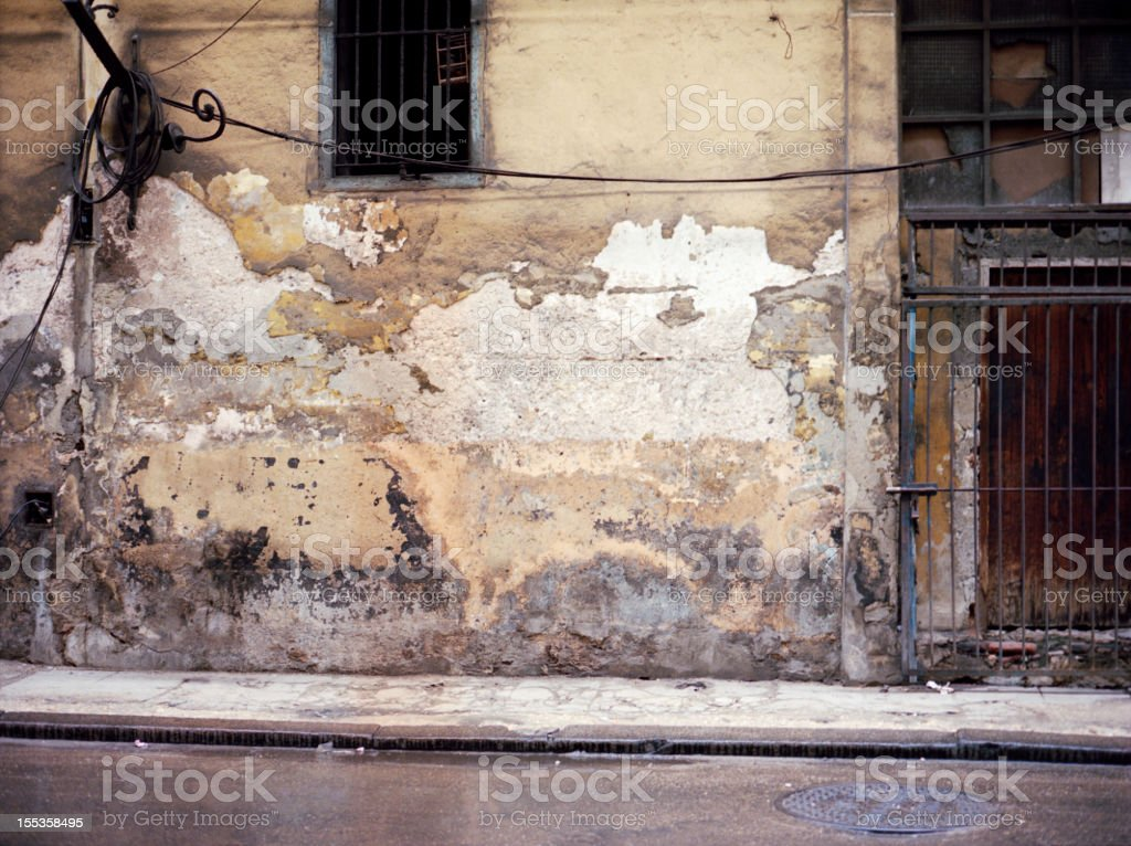 Architechture Textured Old Wall in Havana Cuba Backgrounds royalty-free stock photo