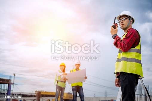 1166176793 istock photo Architect and engineer meeting planning. 1148773910