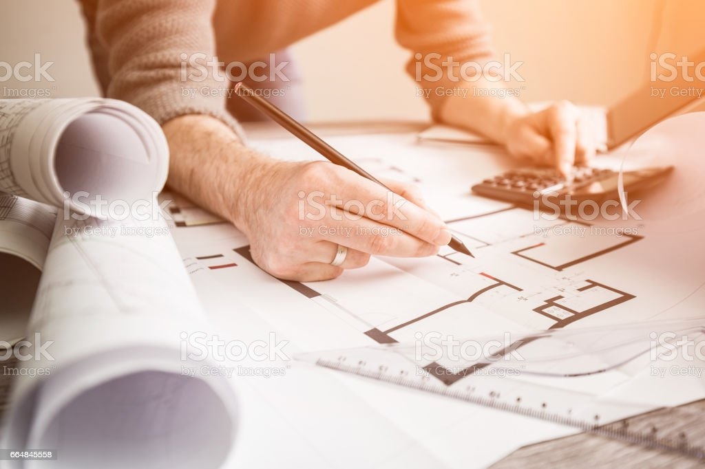 architect architecture drawing project blueprint working design designer stock photo