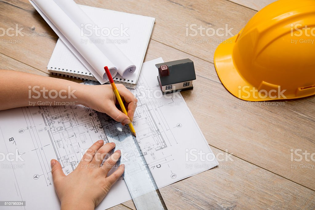 Architect at work stock photo
