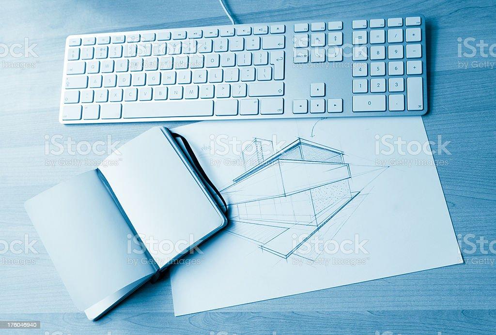 Architect blank notepad royalty-free stock photo
