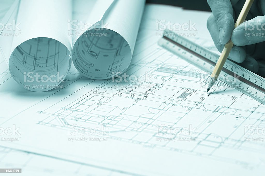 Architect, blueprints & Drawing Tools royalty-free stock photo
