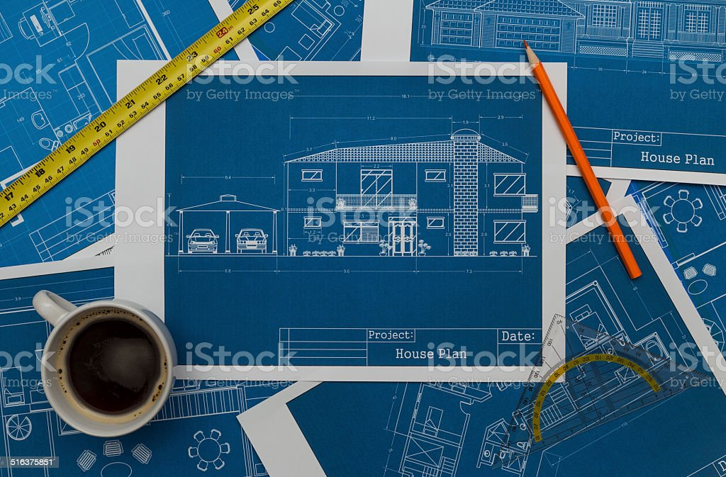 Architect Blueprints stock photo