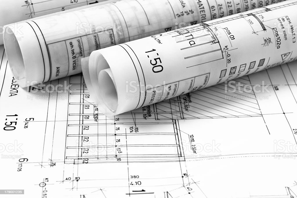 Architect blueprints signifying homebuilding concept stock photo