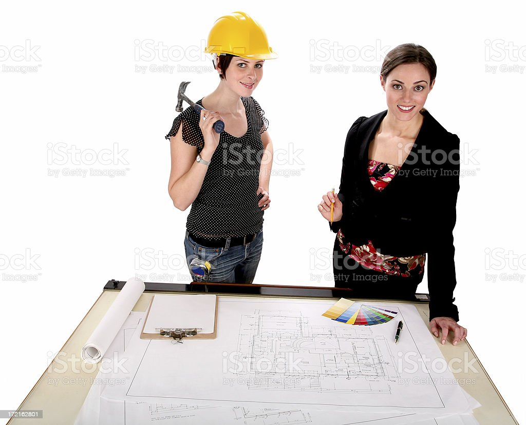 Architect & Carpenter Meeting royalty-free stock photo