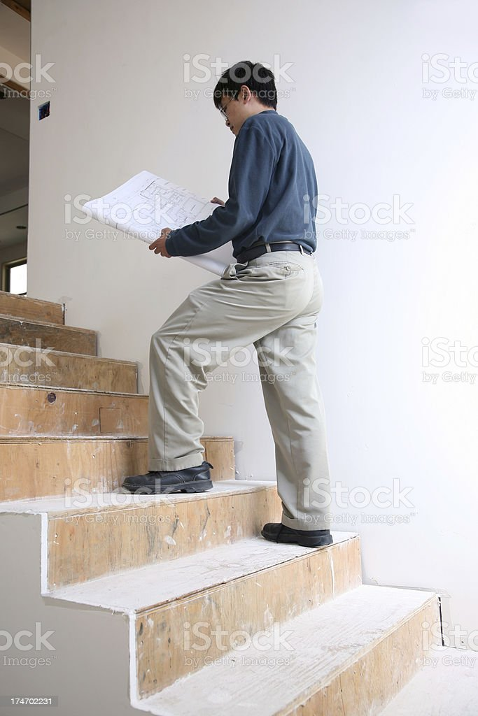 Architect Check out Blueprint royalty-free stock photo