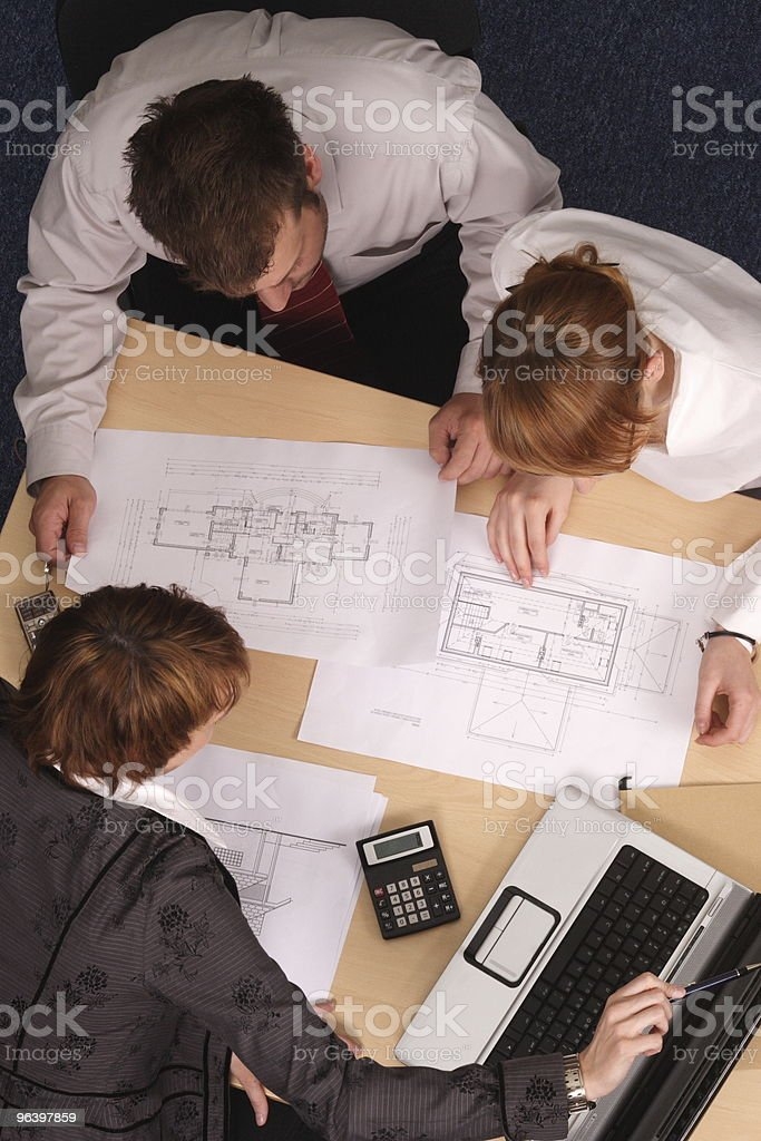 Architect, clients,blueprints - Royalty-free Adult Stock Photo