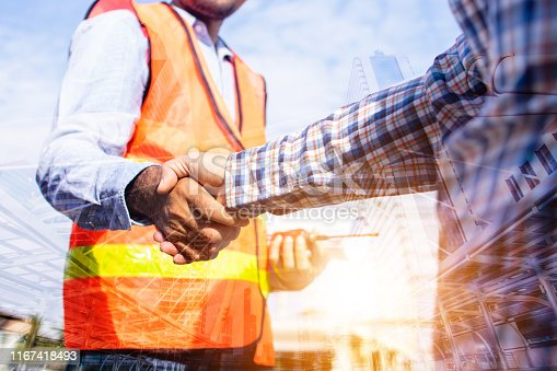912867216istockphoto Architect contractor shaking hands with client at construction site 1167418493