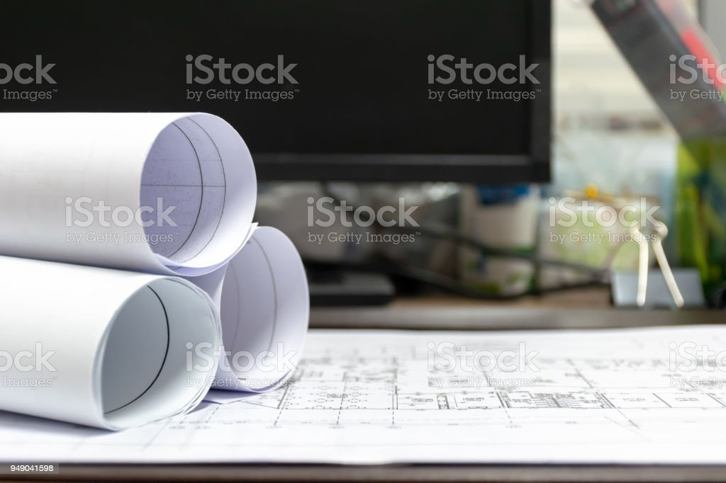 architect design is placed on the table.