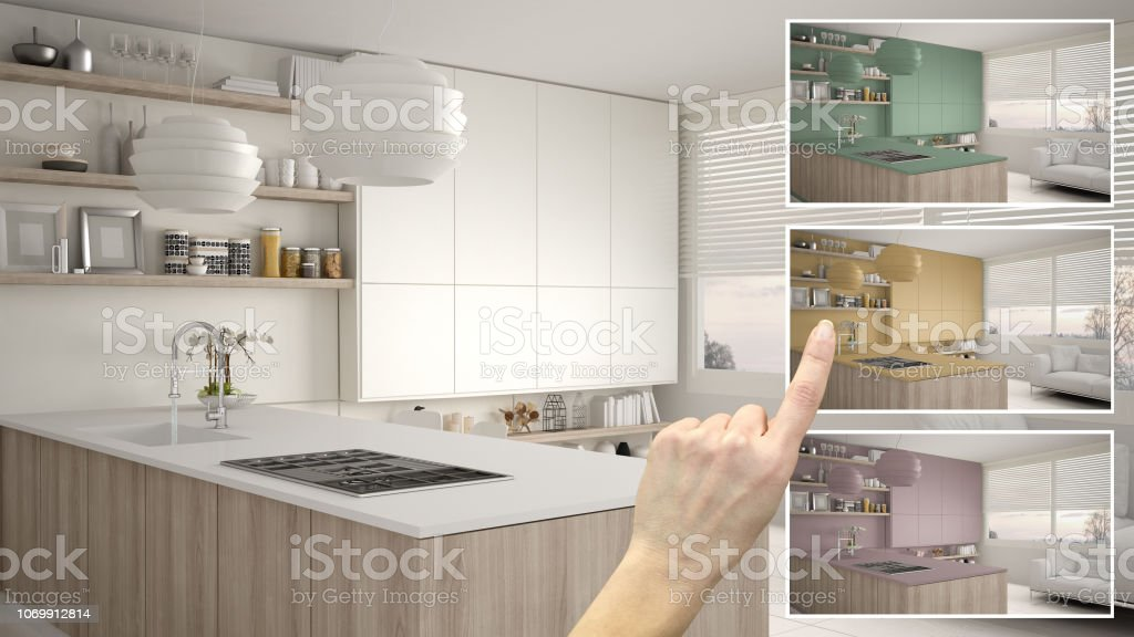 Architect designer concept, hand showing kitchen colors different...