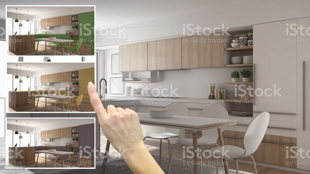 Architect Designer Concept Hand Showing Kitchen Colors Different Options Interior Design Project Draft Color Picker Material Sample Stock Photo Download Image Now Istock