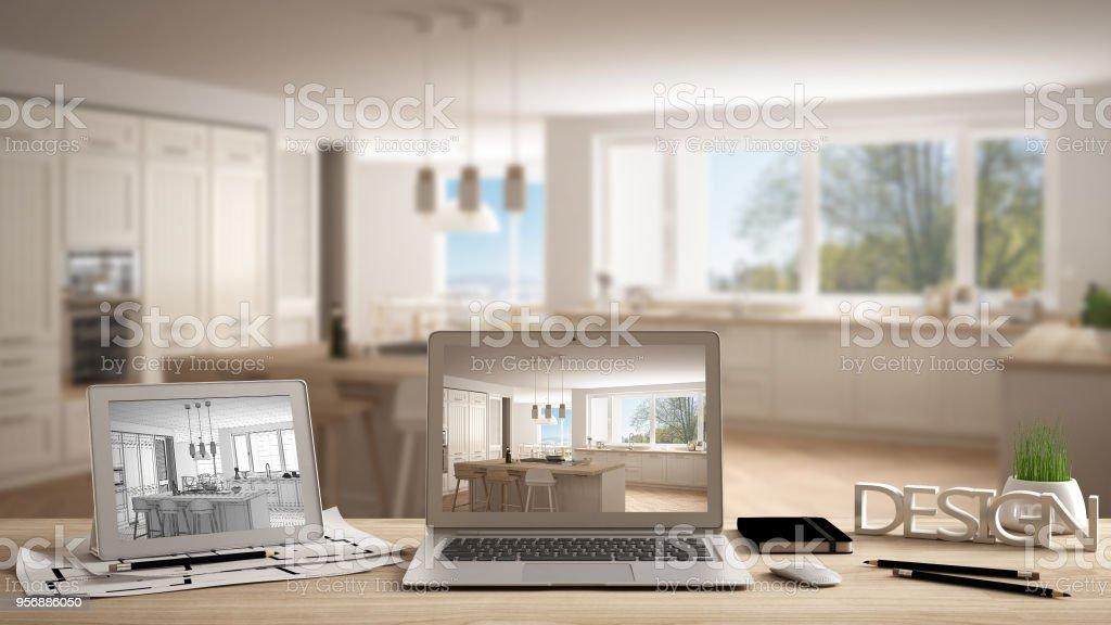 Larchitecte concepteur concept bureau ordinateur portable et