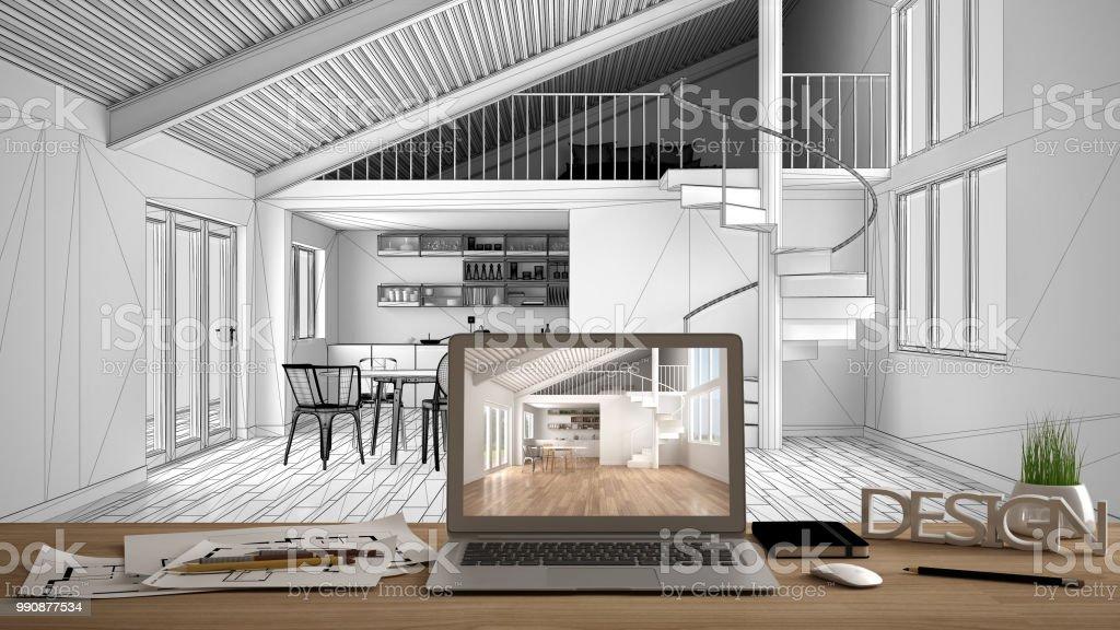 Architekt Designer Desktopkonzept Laptop Auf Hölzernen Schreibtisch ...