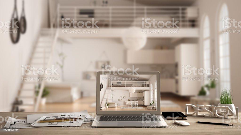 Architekt Designer Desktopkonzept Laptop Auf Holzschreibtisch Mit ...