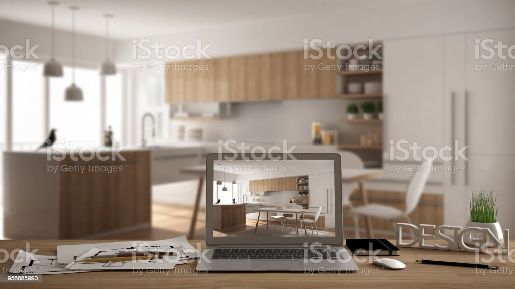 Architect Designer Desktop Concept Laptop On Wooden Work Desk With