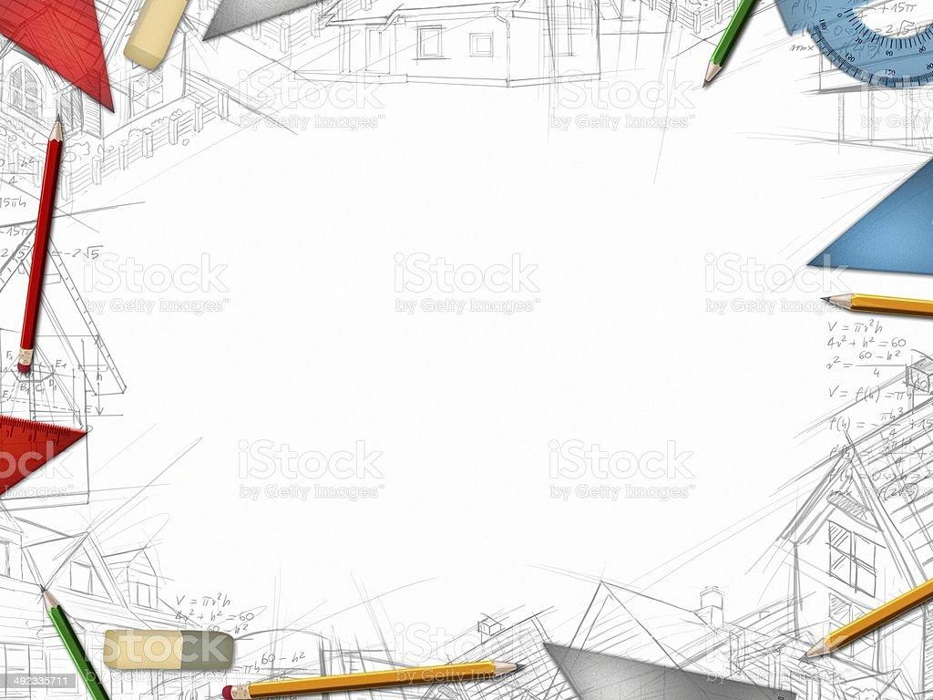 Architekt Projektant pulpitu ramki na białym tle – zdjęcie