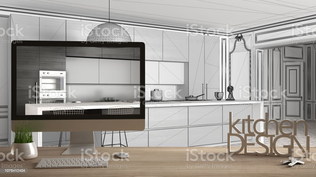 Architect Designer Project Concept Wooden Table With House Keys 3d Letters Words Kitchen Design And Desktop Showing Draft Blueprint Cad Sketch In The Background White Interior Design Stock Photo Download Image