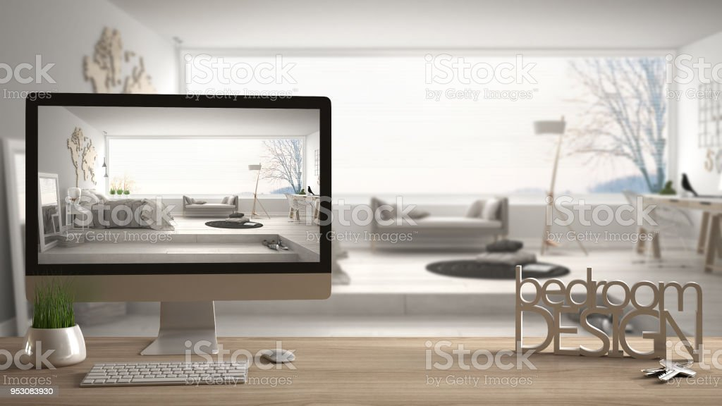 Architect Designer Project Concept Wooden Table With Keys 3d Letters