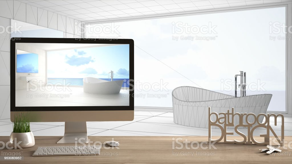 Architect designer project concept wooden table with keys 3d letters architect designer project concept wooden table with keys 3d letters words bathroom design and malvernweather Images