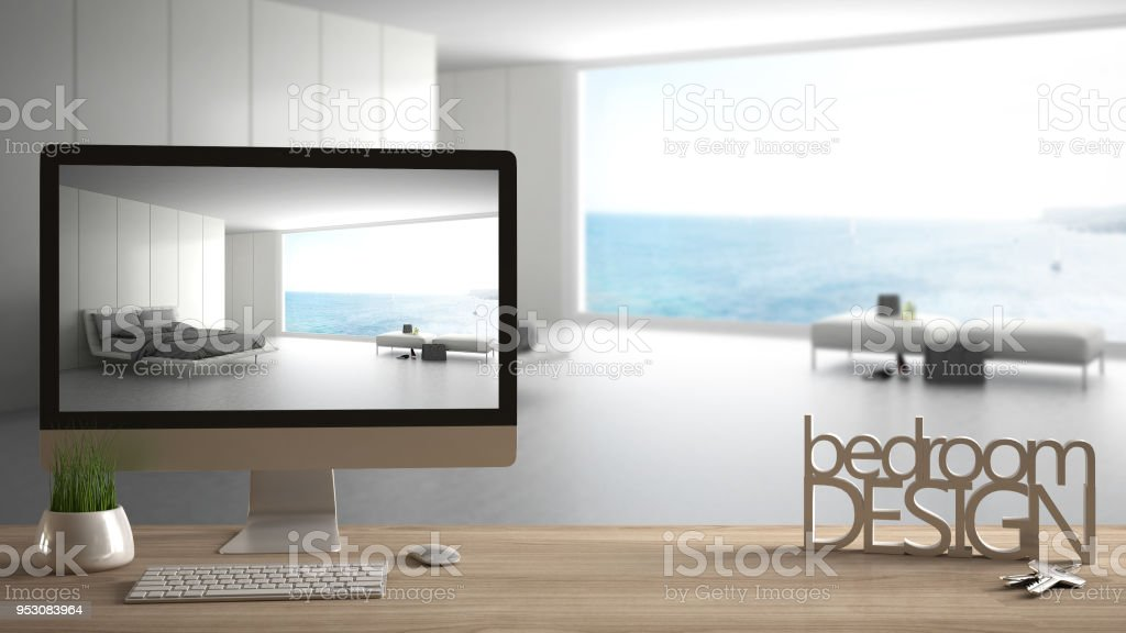 Architect Designer Project Concept Wooden Table With Keys 3d Letters Making The Words Bedroom Design And Desktop Showing Draft Blurred Space In The Background Interior Design Stock Photo Download Image Now