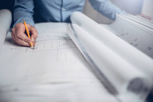 Architect designing a commercial building stock photo