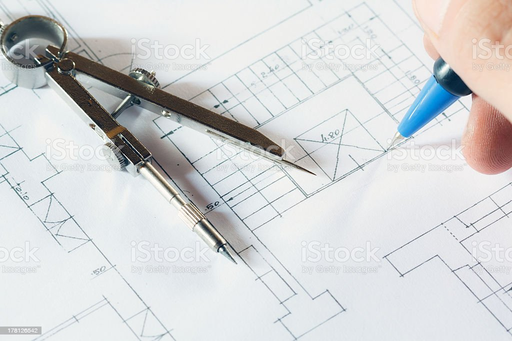 Architect drawing a project royalty-free stock photo