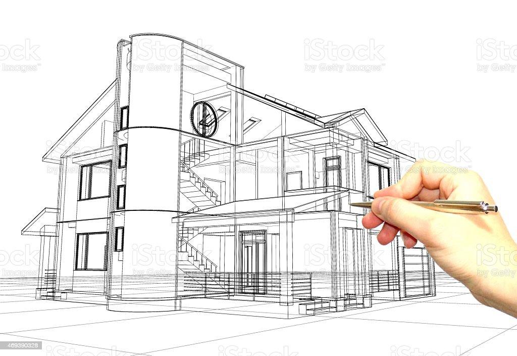 Architekt Zeichnen Eine Skizze Lizenzfreies Stock Foto