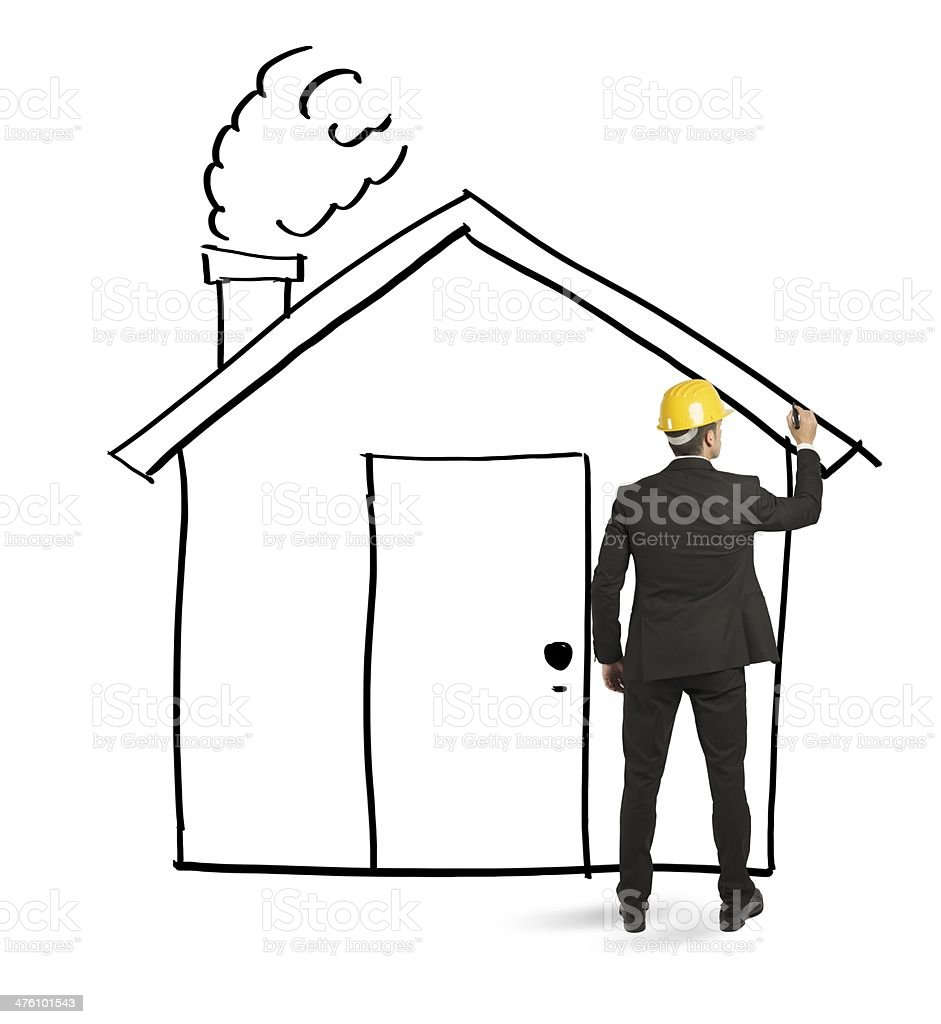 Architect drawing home royalty-free stock photo