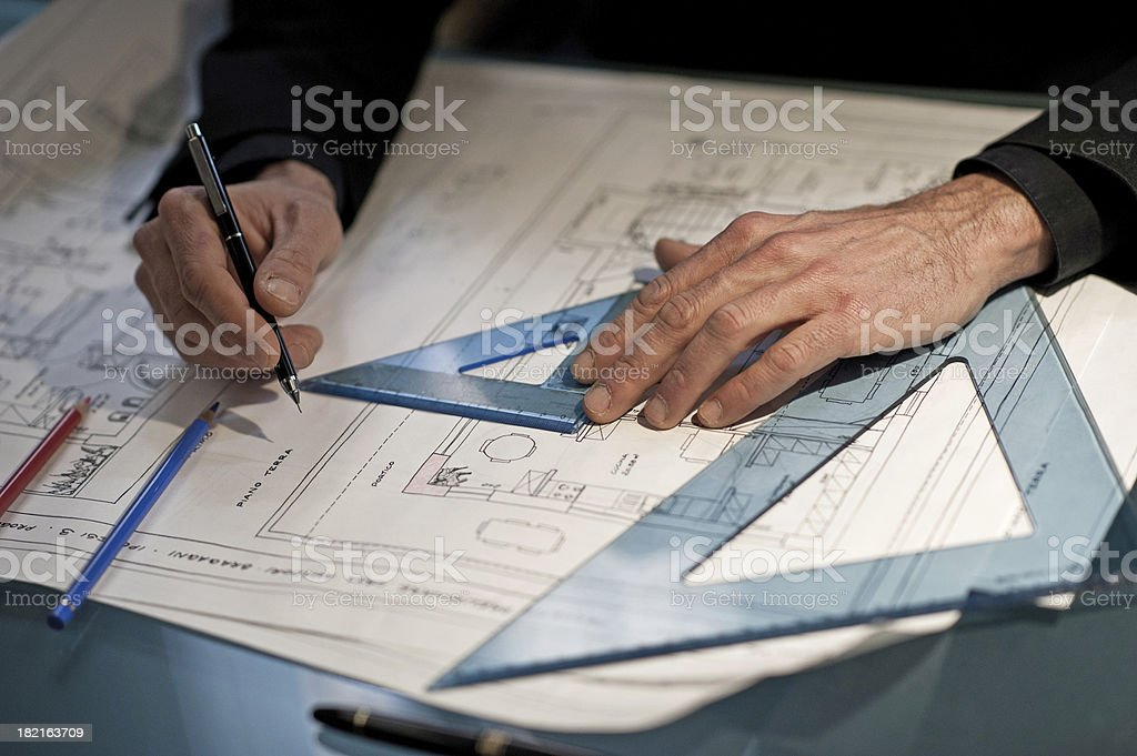 Architect drawing stock photo