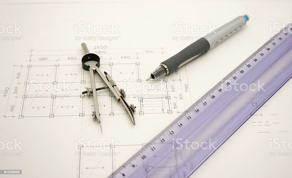 Architect drawings and working tools