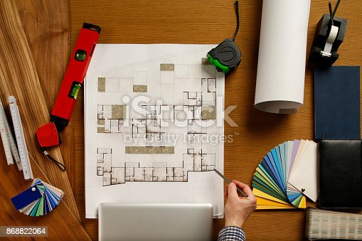 istock Architect  Engineer desk background Project ideas concept 868822064