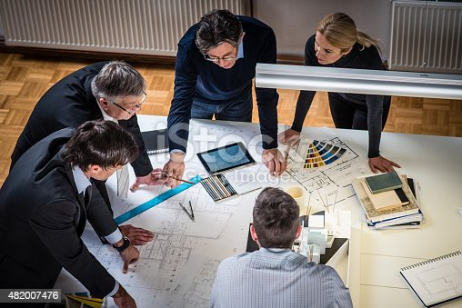 532257236istockphoto Architect explaining project plan to clients 482007476