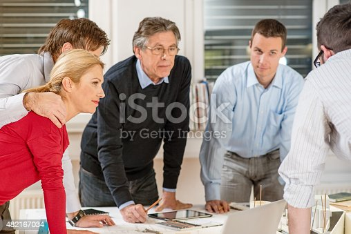 532257236istockphoto Architect explaining project plan to clients 482167034