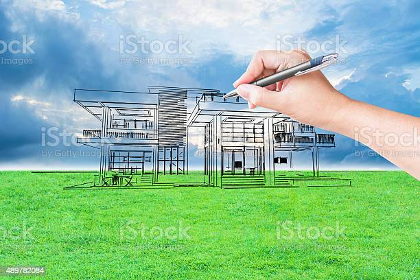 Architect hand drawing a house picture id489782084?b=1&k=6&m=489782084&s=612x612&h=7o1teb660ofif  idm3iwvntk xhett 3ahwaiiibz4=